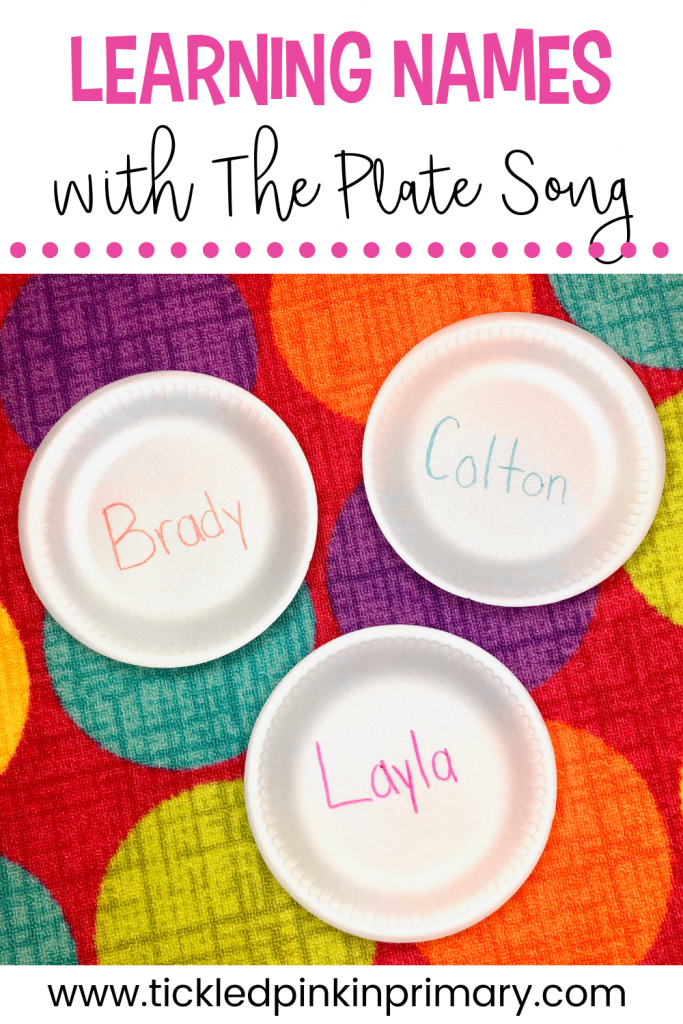 plates on the floor with kids names on them