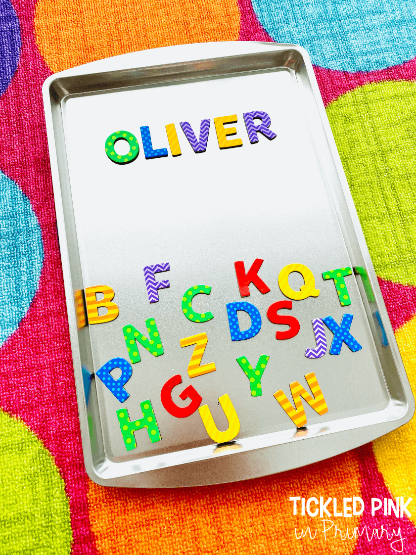 magnetic letters on a cookie sheet
