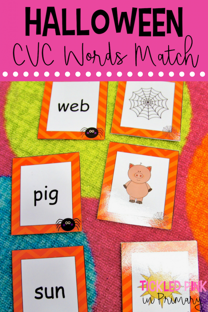 Halloween CVC word and picture match