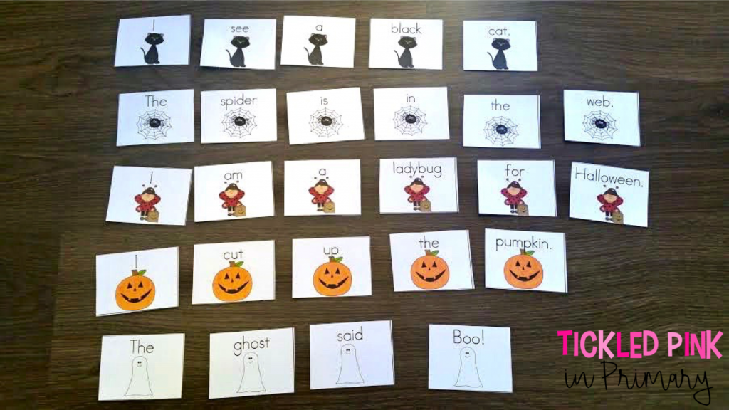 Students build and record 5 sentences about Halloween