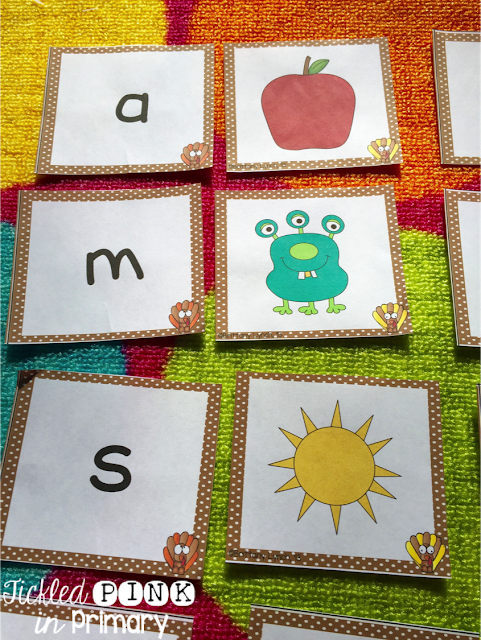 Beginning Sound Game | Thanksgiving Literacy and Math