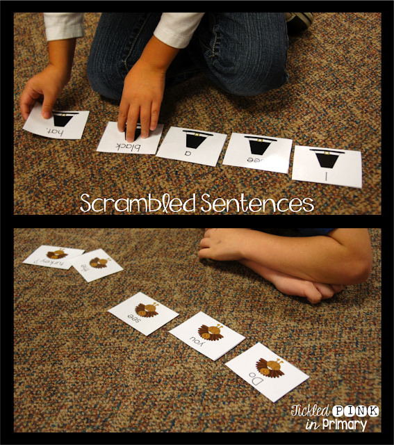 Scramble Sentences | Thanksgiving Literacy and Math