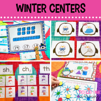 winter literacy centers and math games