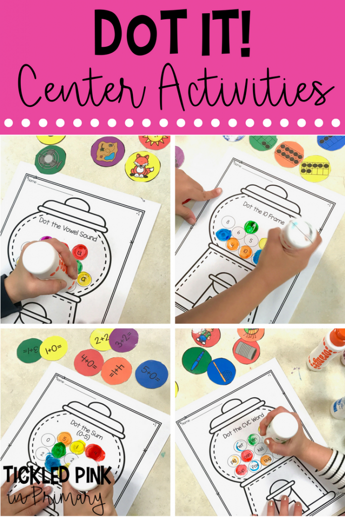 bingo dabber activities for literacy and math centers