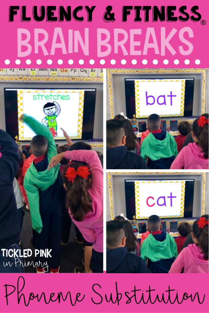 Students will learn how to substitute sounds to make new words while getting in a brain break. Fluency and Fitness is FUN and great practice for phoneme substitution! #cvcwords #wordwork #phonemesubstitution #kindergarten #firstgrade #brainbreaks #fluencyandfitness