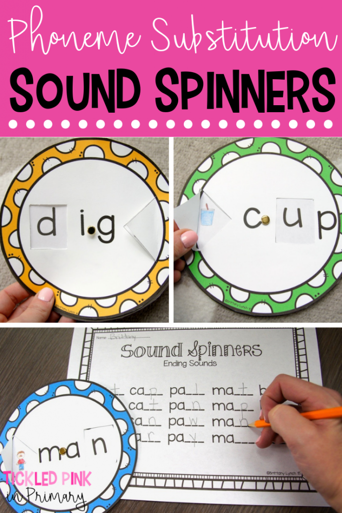 These sound spinners are a fun way to let students work on phoneme substitution. Learn about phoneme manipulation and how to change 1 sound to make new words! #soundsubstitution #phonemesubstitution #literacycenters #cvcwords #kindergarten #wordwork