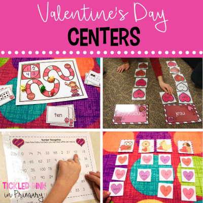 valentines day literacy centers and math games