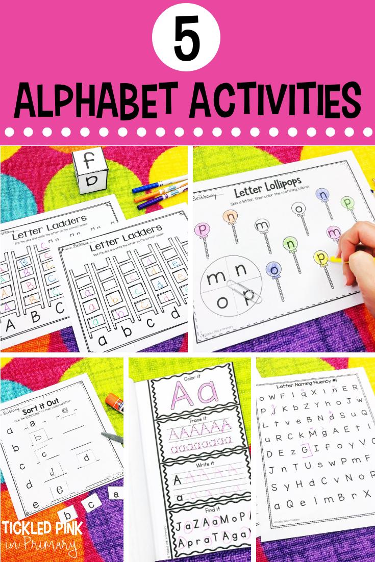 examples of 5 alphabet activities