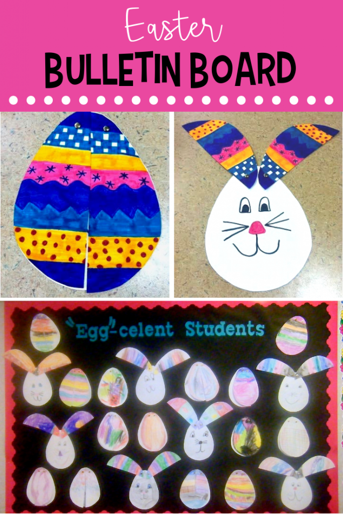 Try this easy Easter bunny craft and then turn it into a bulletin board. Your kids will love making the peek-a-boo bunnies! #eastercraft #easterbulletinboard #eastereggcraft