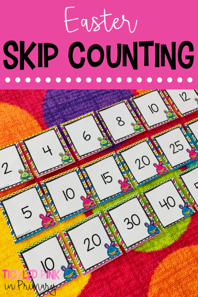 Check out these Kindergarten Easter centers for literacy or math such as this Easter skip counting activity. #kindergarten #skipcounting #mathcenters #eastercenters #firstgrade