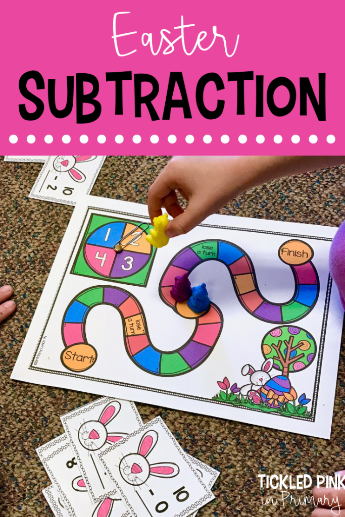 Help students work on subtraction math facts with this engaging Easter center. It can be played a few different ways to allow for differentiation. #kindergarten #subtraction #math #eastercenters