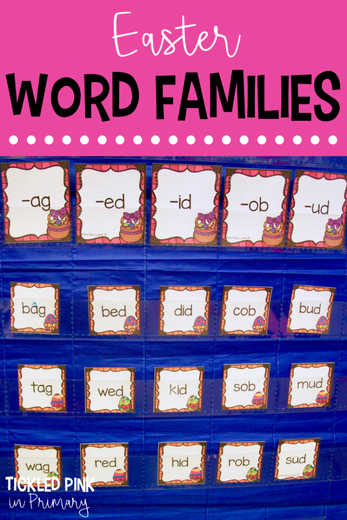 Check out these Kindergarten Easter centers for literacy or math such as this Easter word families sorting activity. #kindergarten #wordfamilies #literacycenters #eastercenters #firstgrade
