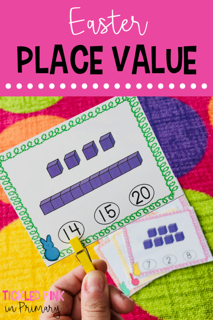 Check out these Kindergarten Easter centers for literacy or math such as this Easter place value activity. #kindergarten #placevalue #mathcenters #eastercenters #firstgrade