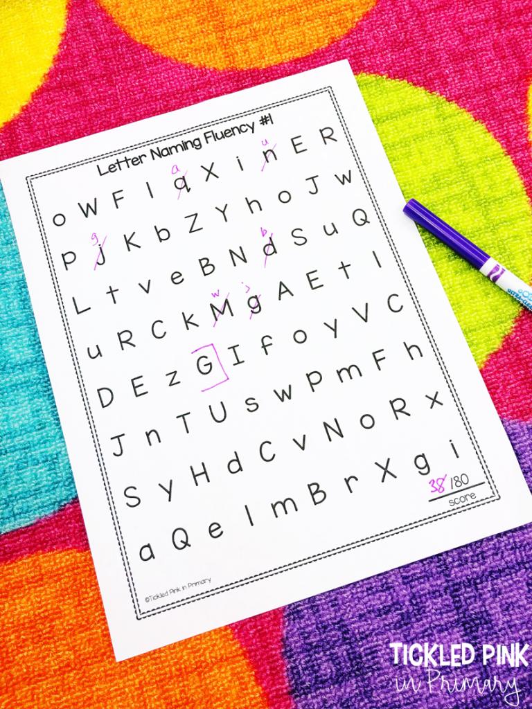 letter naming fluency teacher recording sheet