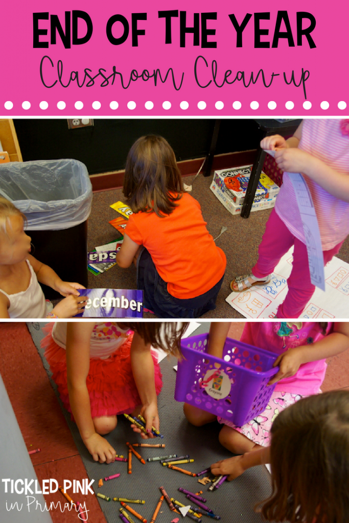 students cleaning up crayons and other items in a classroom for end of the year organization