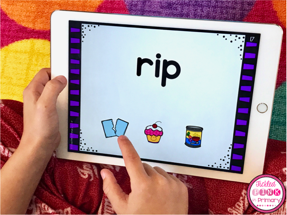 Kindergarten digital task cards to help students with reading and math skills for the whole year! #kindergarten #ipadgames #cvcwords #taskcards #digitaltaskcards