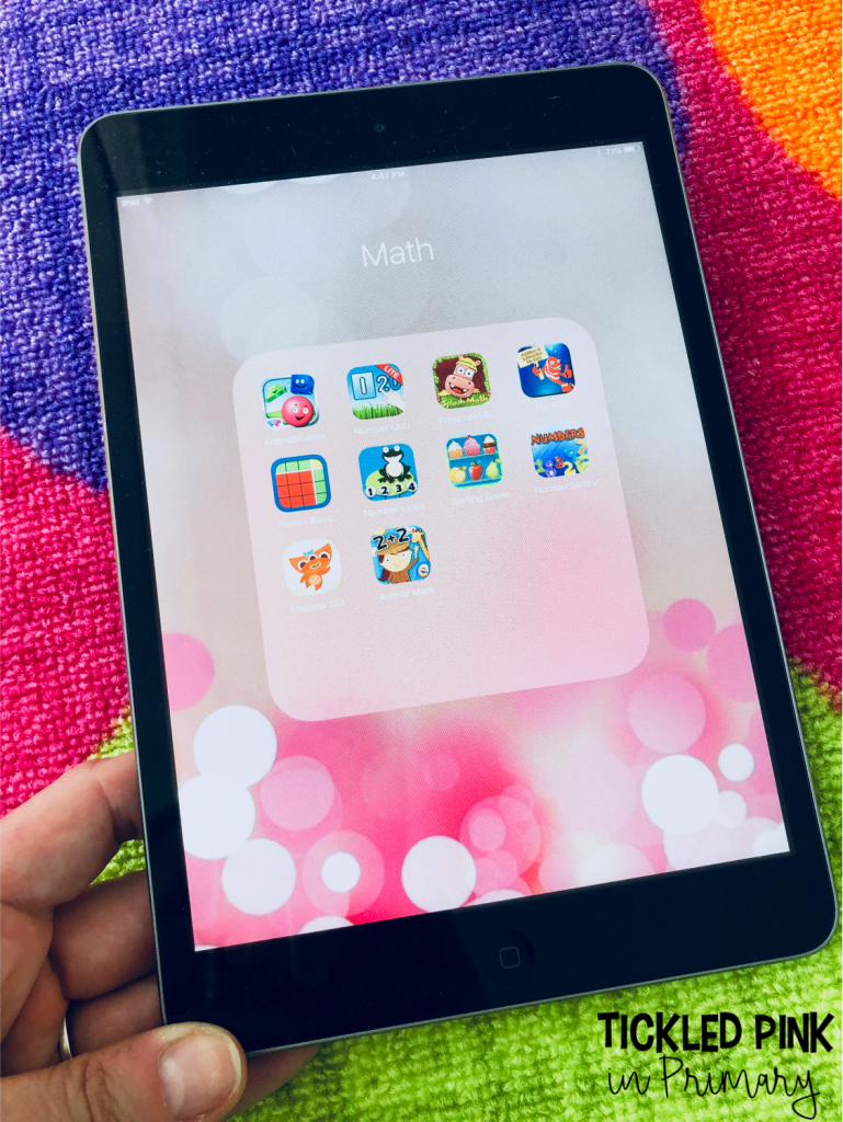 Learn how to organize your kindergarten apps and find 10 free apps for math or literacy centers. #kindergartenapps #free #kindergarten #ipadgames #mathapps