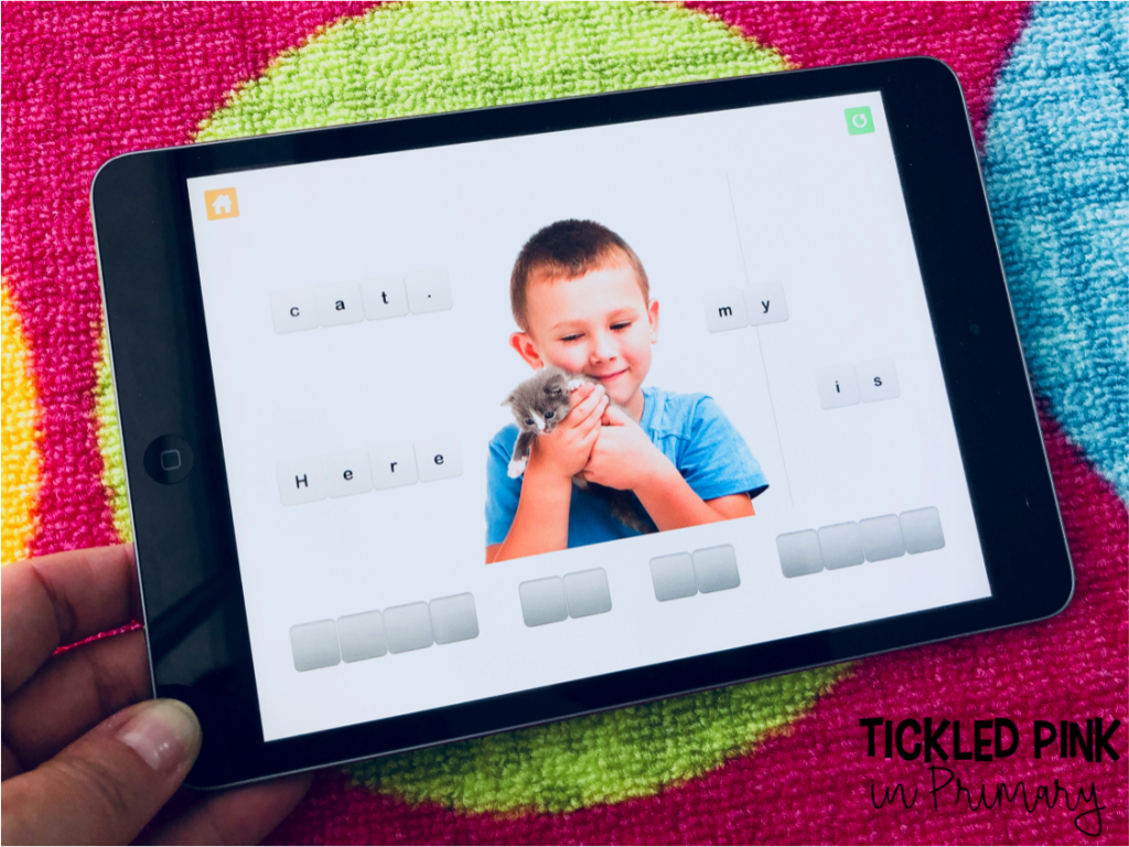This sentence building iPad app is great for Kindergarten. Check out these 10 kindergarten free ipad apps for reading and math. #kindergartenapps #free #kindergarten #sentencebuilding