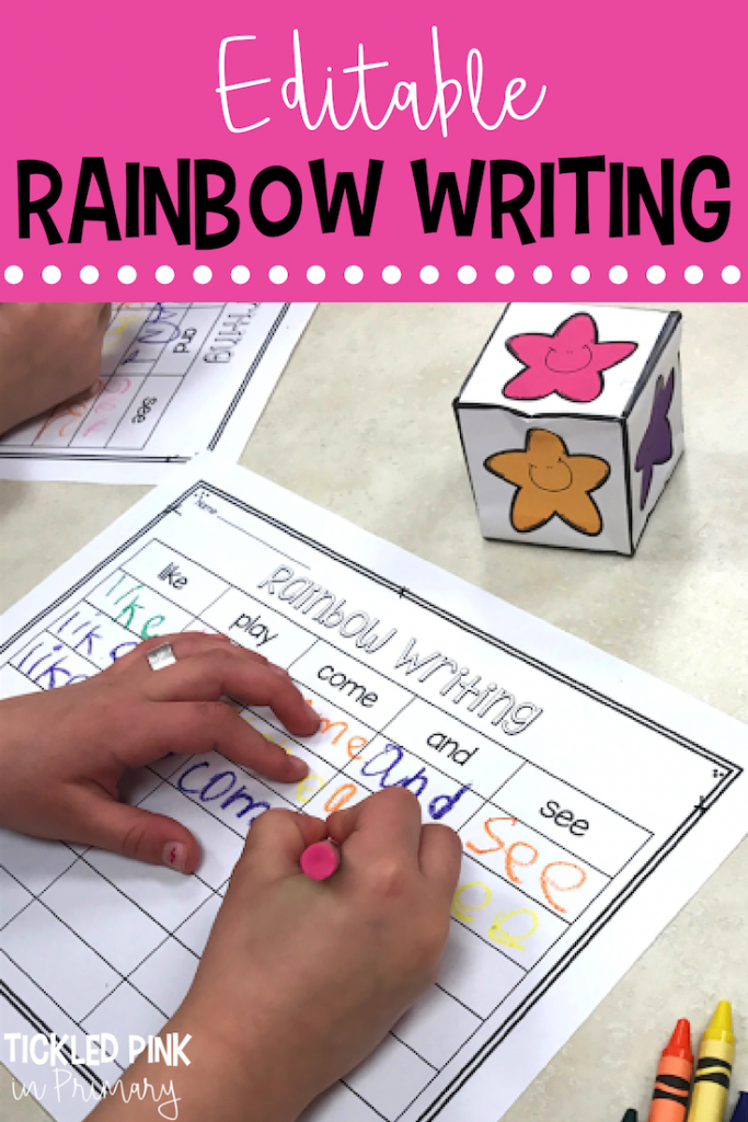 kids writing sight words on a worksheet
