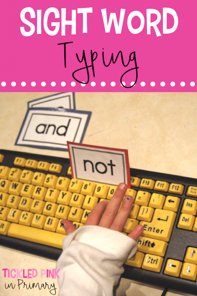 kid using type writer to type out sight words