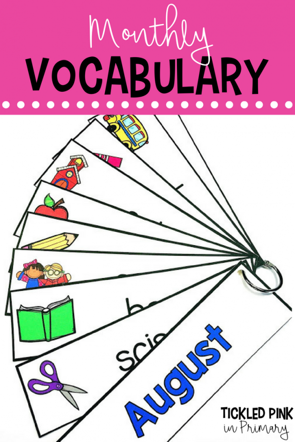 Classroom Writing station monthly vocabulary cards