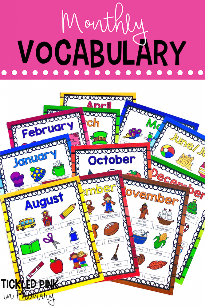 Classroom Writing Center - Monthly Vocabulary
