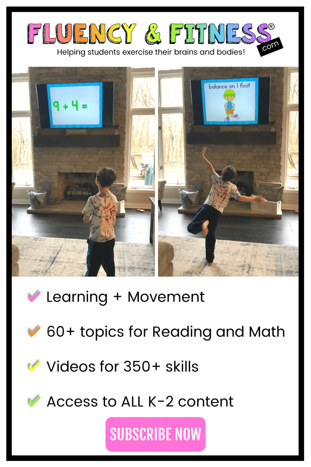 boy doing exercises while learning math with Fluency & Fitness videos