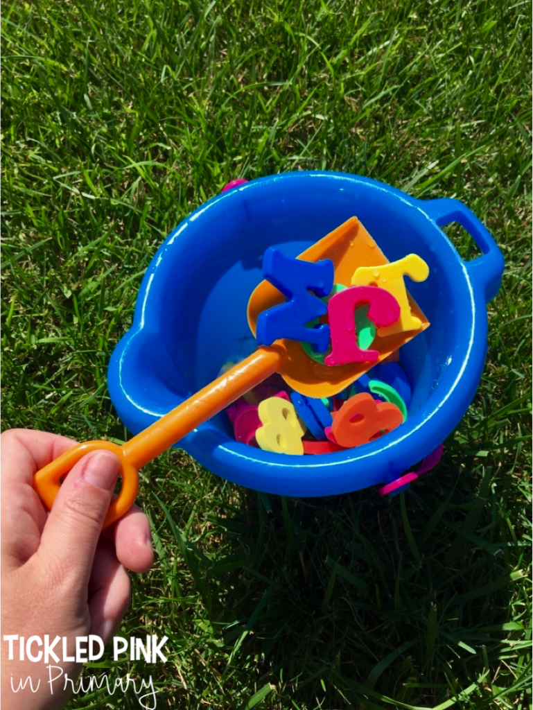 Throw magnetic letters in a bucket of water and let your child scoop out some letters. They can read the letter, say the sound, build a word, etc. #summerlearning #alphabet #summerslide #kindergarten