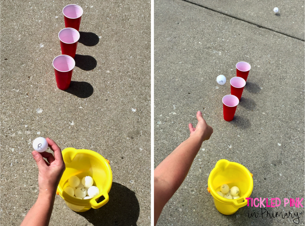 Help your child keep learning this Summer. Play Bozo buckets where kids read the letter on the ping pong ball and try to throw it in a cup. Click to find more activities to prevent the Summer slide. #alphabet #summerslide #summerlearning