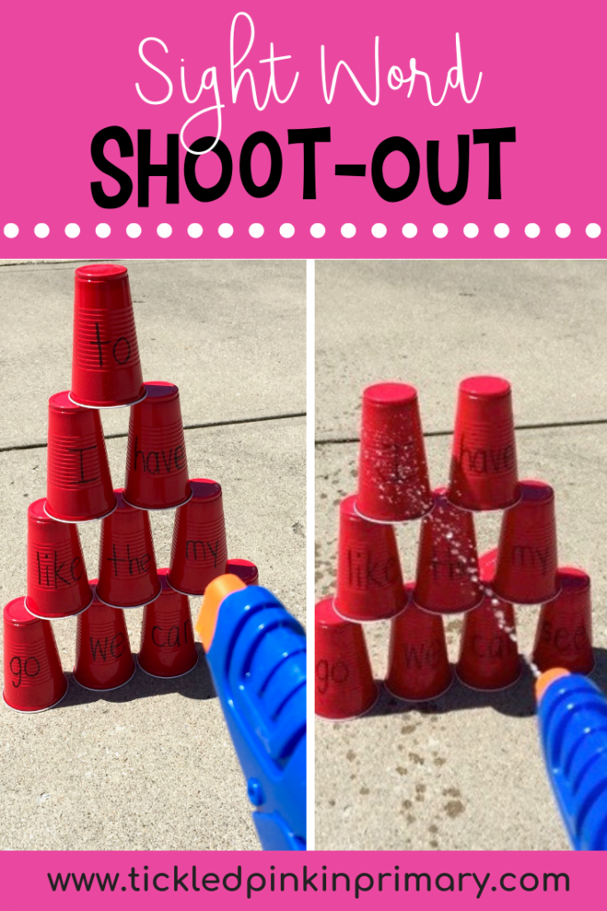 red cups stacked high and a kid is knocking them over with a squirt gun