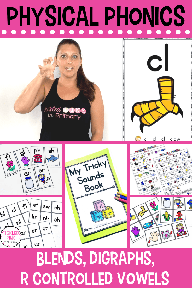 collage of resources to teach blends digraphs r controlled vowels