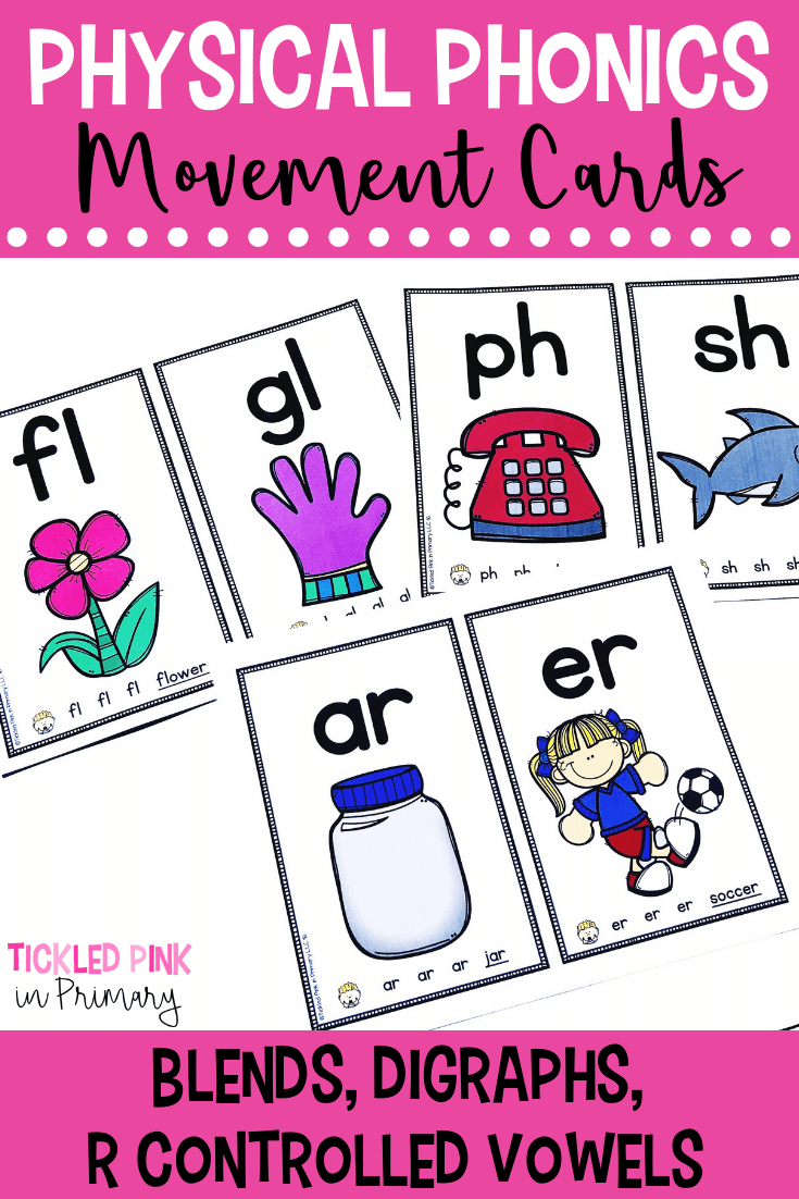physical phonics cards laying on a table with blends, digraphs, and r controlled vowels sounds