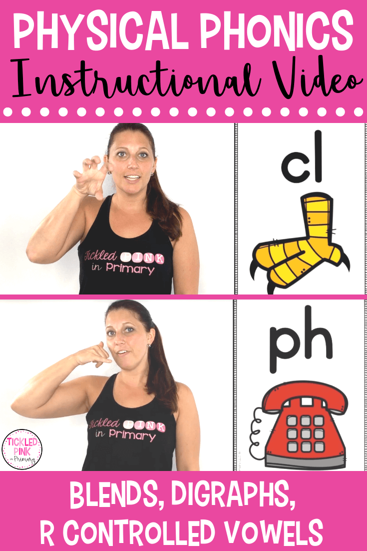 teacher teaching blends and digraphs using hand motions to show a claw and phone