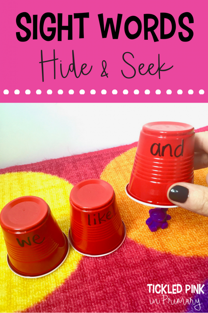 sight word cups on a rug with a bear hidden under 1 cup