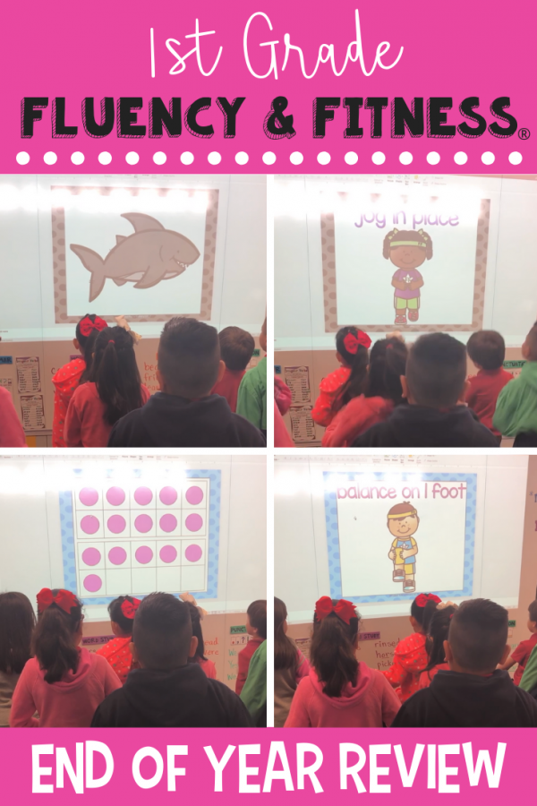 This first grade end of year review fluency and fitness is a great way to review literacy and math skills while getting in a brain break. Click to find 6 activities to get your students up and moving while practicing what they've learned in 1st grade! #firstgrade #endofyear #brainbreaks #fluencyandfitness