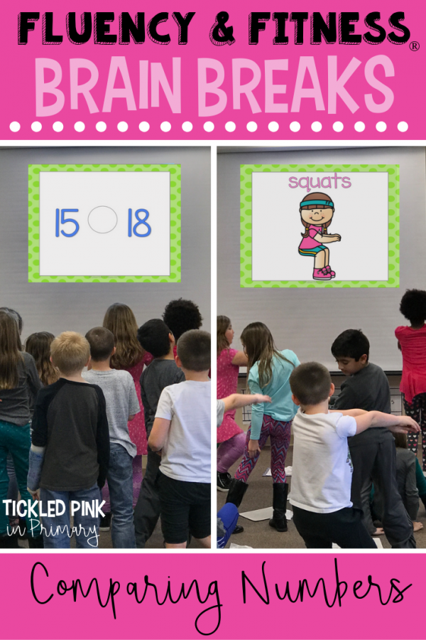 Help your students get in classroom brain breaks without losing instructional time. Students can work on comparing numbers, while getting the wiggles out. Click to learn more. #brainbreaks #fluencyandfitness #comparingnumbers #math #kindergarten #firstgrade #secondgrade