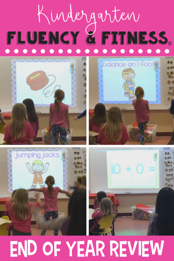 Use this Kindergarten end of year review Fluency & Fitness to help students practice literacy and math skills while getting in a brain break. Click to find 6 activities to help students get the wiggles out and practice what they've learned all year. #kindergarten #brainbreaks #endofyear #fluencyandfitness #review
