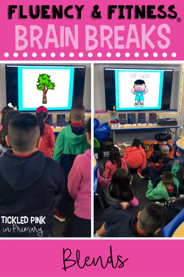 Help your students get in a movement brain breaks without losing instructional time. Students can work on blends, while getting the wiggles out. Click to learn more. #brainbreaks #fluencyandfitness #blends #kindergarten #firstgrade #phonics