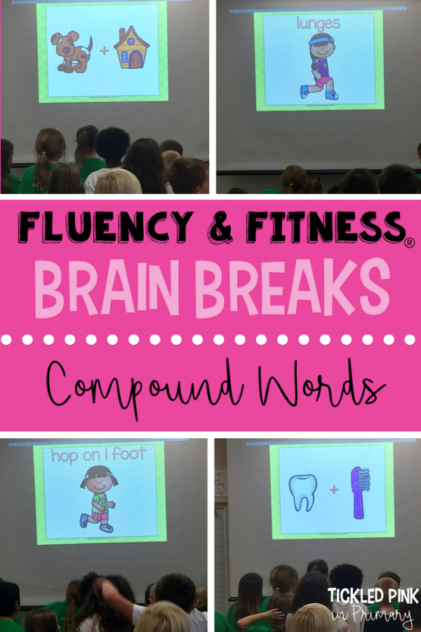 This compound words fluency and fitness is an academic brain break to help students work on literacy skills and get some energy out. More skills available for literacy and math K-5! #fluencyandfitness #brainbreaks #ffirstgrade #secondgrade #compoundwords #kindergarten