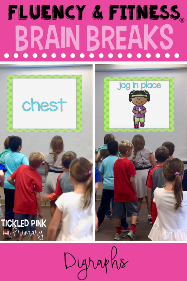 Help your students get in a movement brain breaks without losing instructional time. Students can work on digraphs, while getting the wiggles out. Click to learn more. #digraphs #brainbreaks #fluencyandfitness #wordwork #kindergarten #first grade
