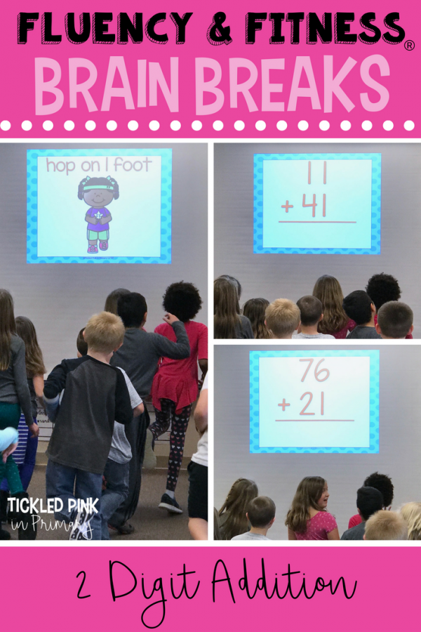 double digit addition math facts fluency and fitness brain breaks