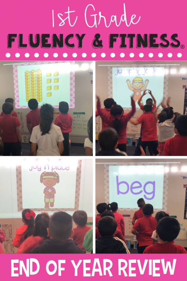 This 1st grade end of year review fluency and fitness is a great way to review literacy and math skills while getting in a brain break. Click to find 6 activities to get your students up and moving while practicing what they've learned in first grade! #firstgrade #endofyear #brainbreaks #fluencyandfitness