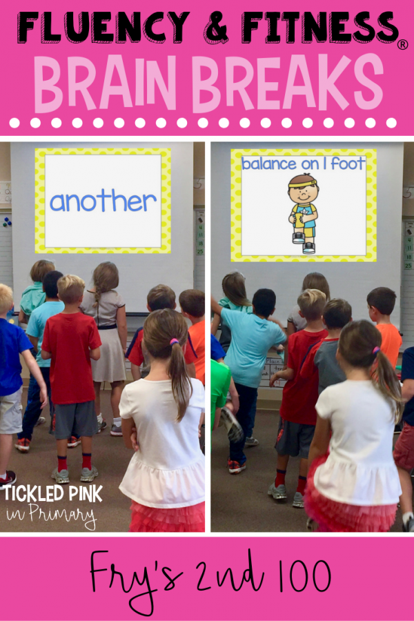 Help your students get in brain breaks without losing instructional time. Students can work on sight words, while getting the wiggles out. Click to learn more. #brainbreaks #fluencyandfitness #sightwords #kindergarten #firstgrade #secondgrade
