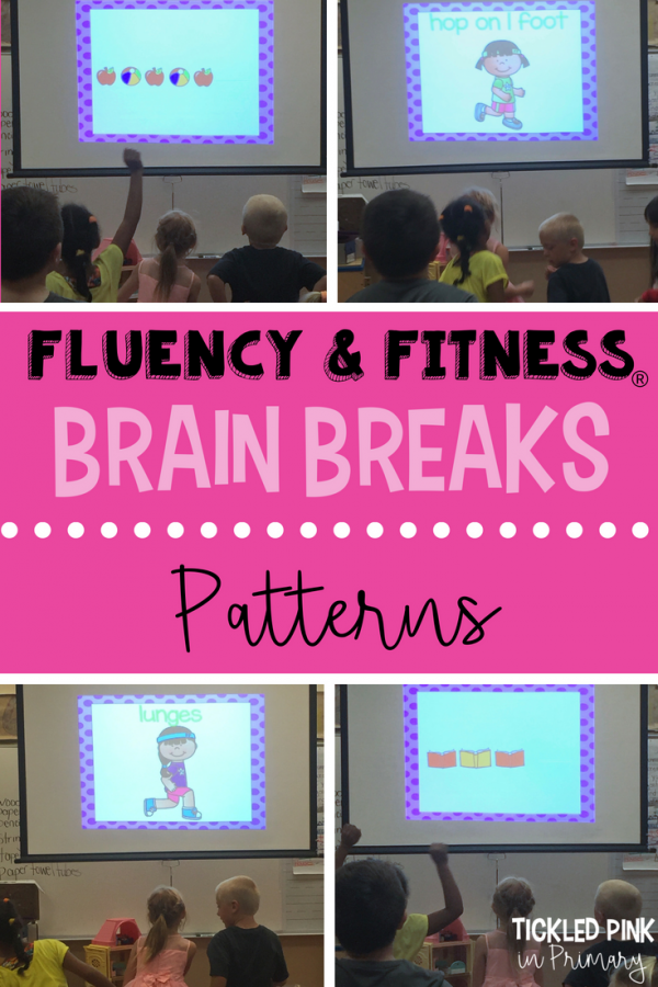 This patterns fluency and fitness is an academic brain break to help students work on math skills and get some energy out. More skills available for literacy and math K-5! #fluencyandfitness #brainbreaks #preschool #patterns #kindergarten