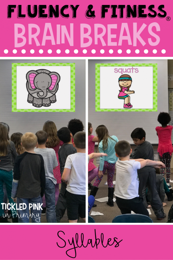 Help your students get in a movement brain breaks without losing instructional time. Students can work on syllables, while getting the wiggles out. Click to learn more. #brainbreaks #fluencyandfitness #syllables #kindergarten #first grade