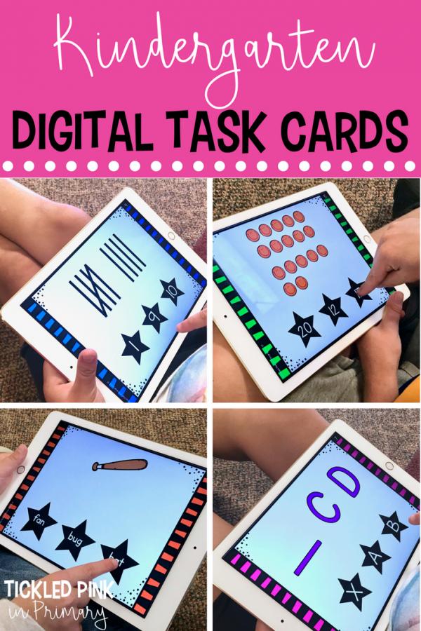 kindergarten task cards digital examples on iPad
