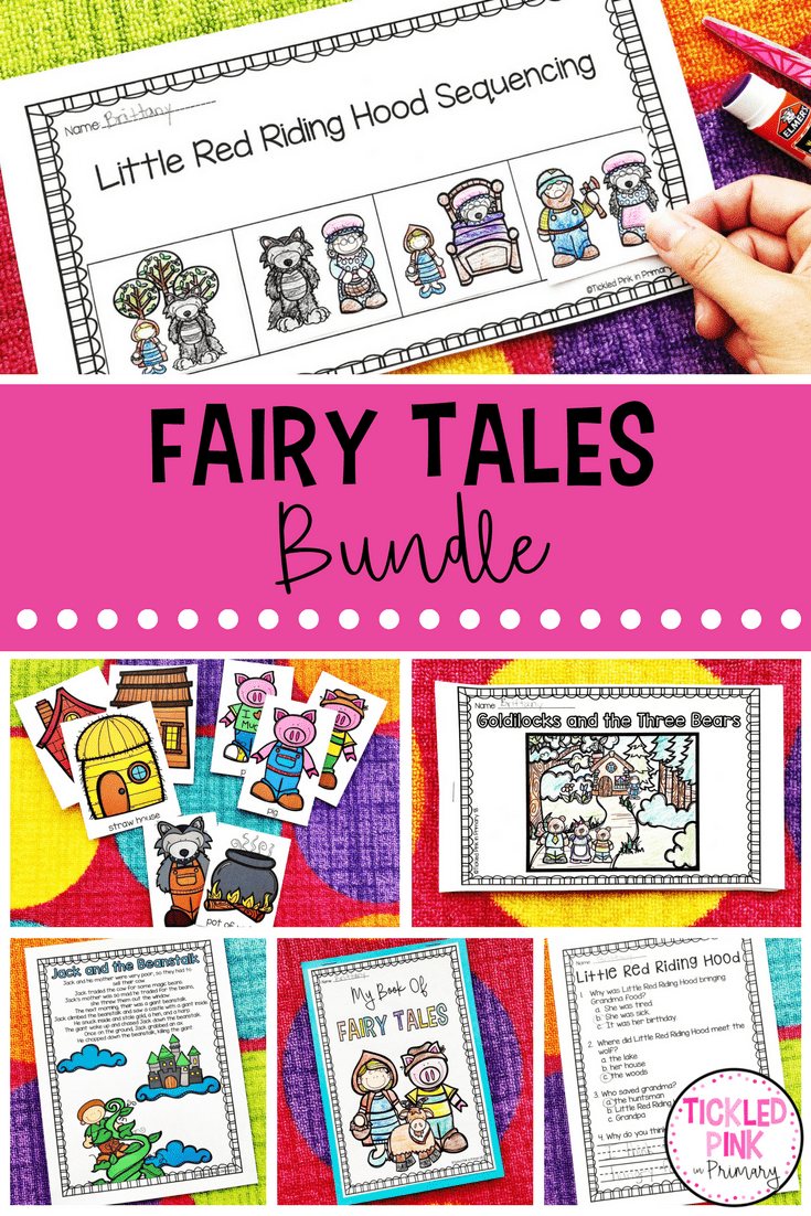 Are you looking for Fairy Tales activities for Preschool and Kindergarten. This bundle teaches 12 popular Fairy Tales and has activities for vocabulary, sequencing, comprehension, emergent readers, and more.