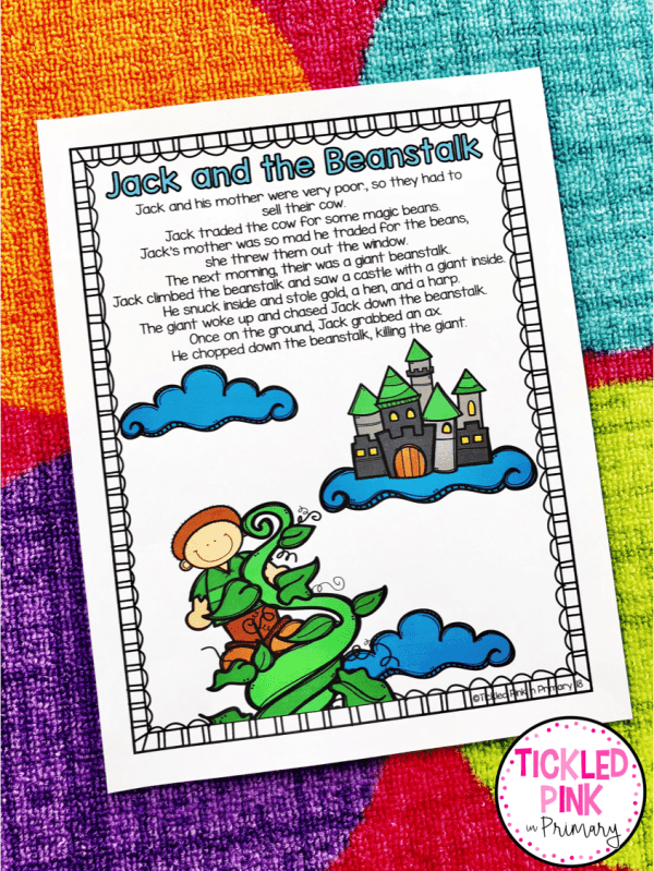 fairy tales activities jack and the beanstalk poster