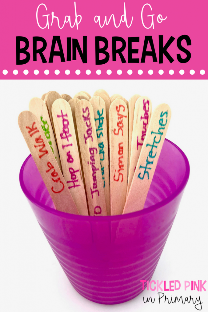Grab and go brain breaks using Popsicle Sticks