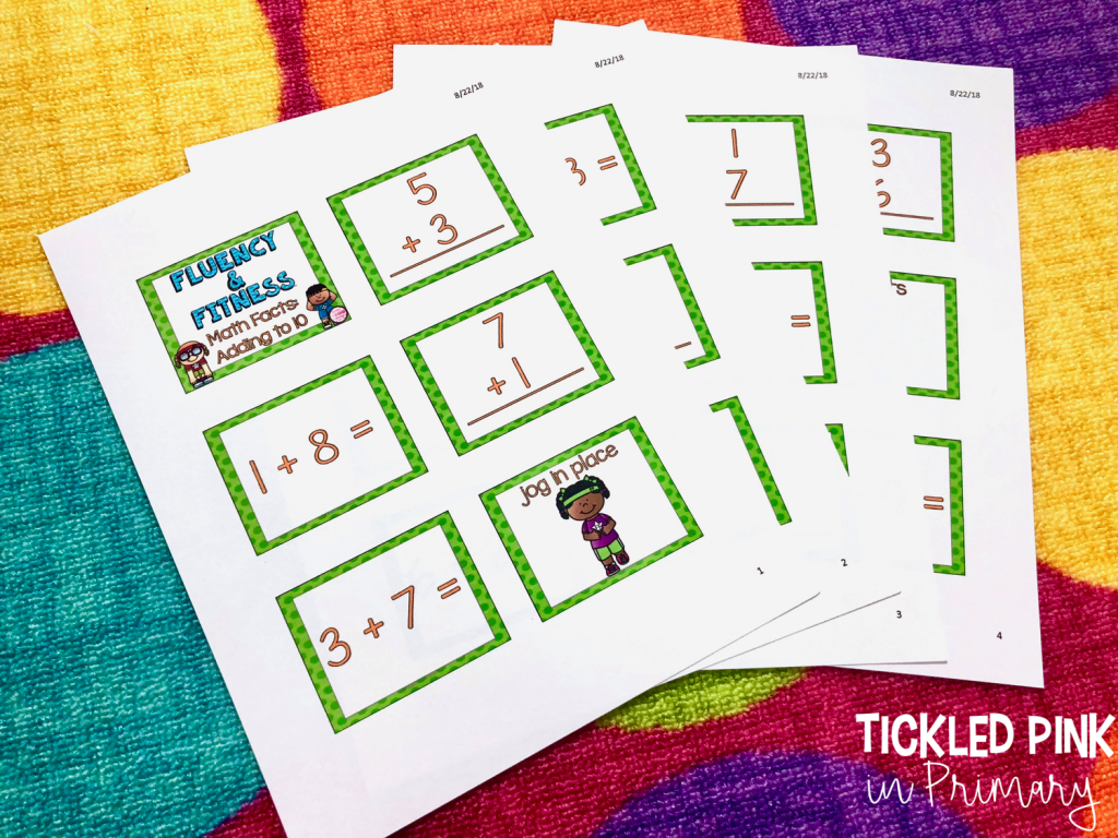 Print Fluency and Fitness®️activities into small flashcards for an educational brain break!
